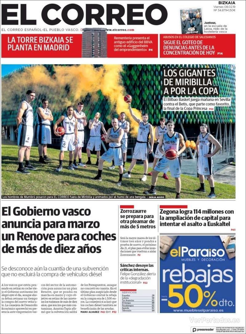 Portada El Correo 2019-02-09
