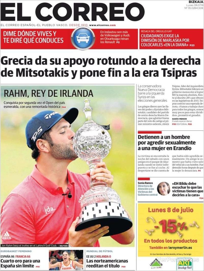 Portada El Correo 2019-07-09
