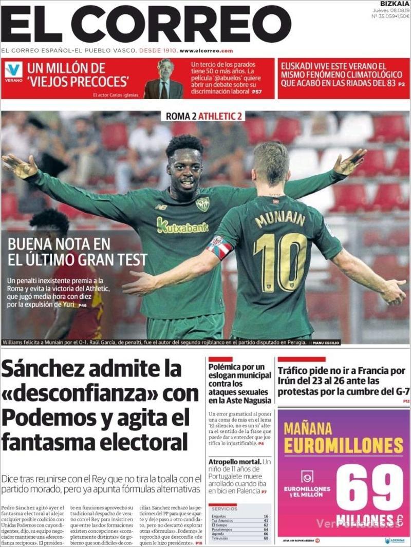 Portada El Correo 2019-08-09