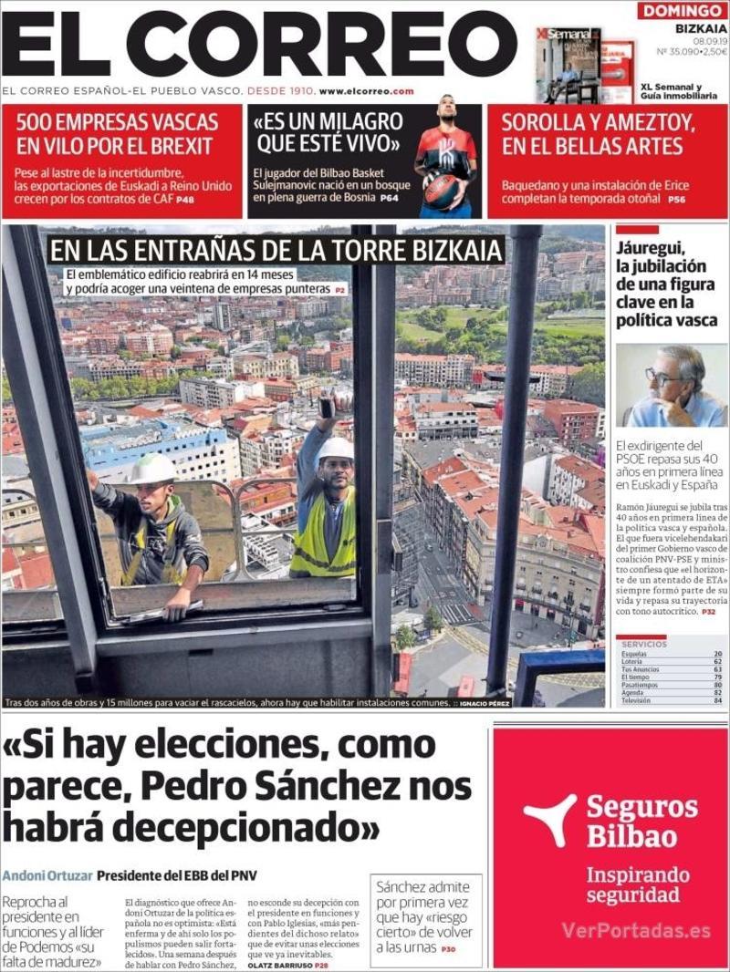 Portada El Correo 2019-09-09