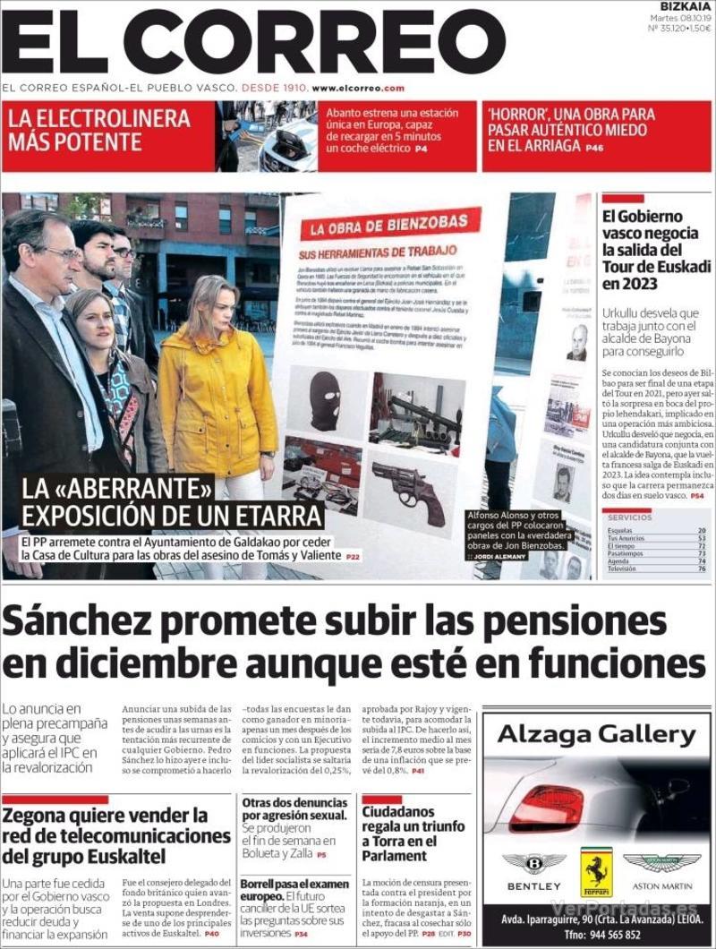 Portada El Correo 2019-10-09