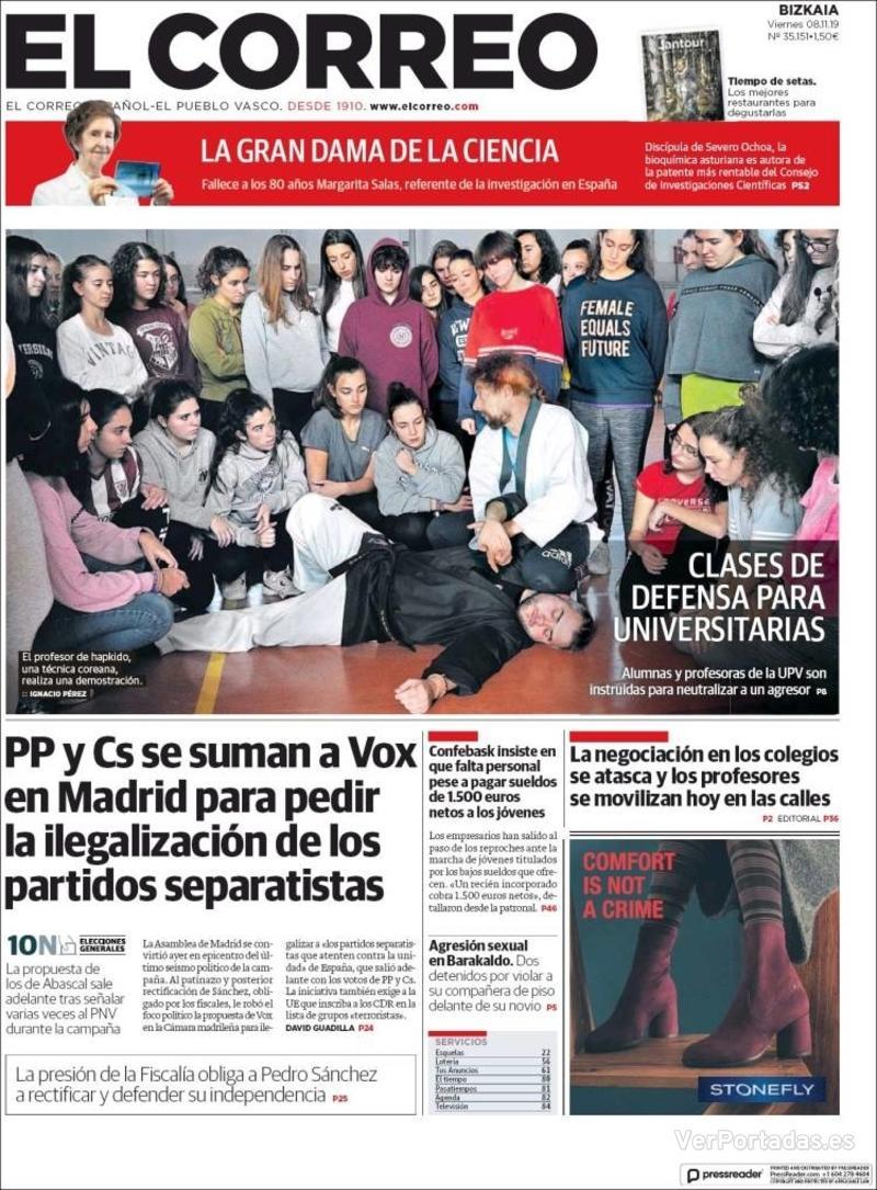 Portada El Correo 2019-11-09