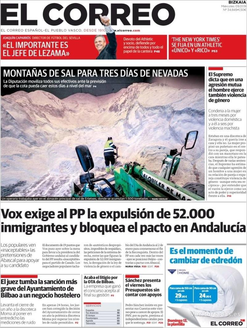 Portada El Correo 2019-01-10