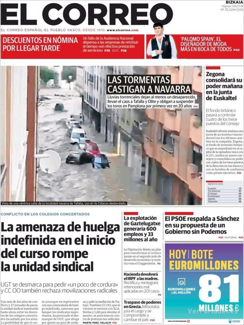Portada El Correo 2019-07-10