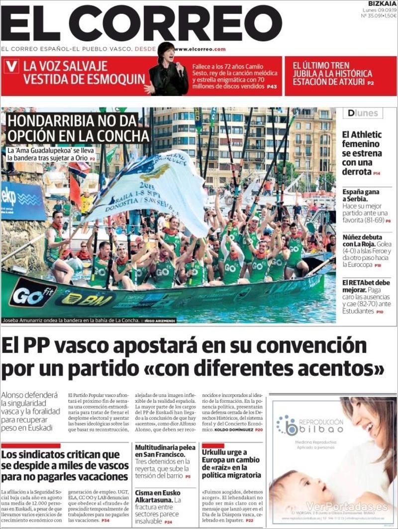 Portada El Correo 2019-09-10