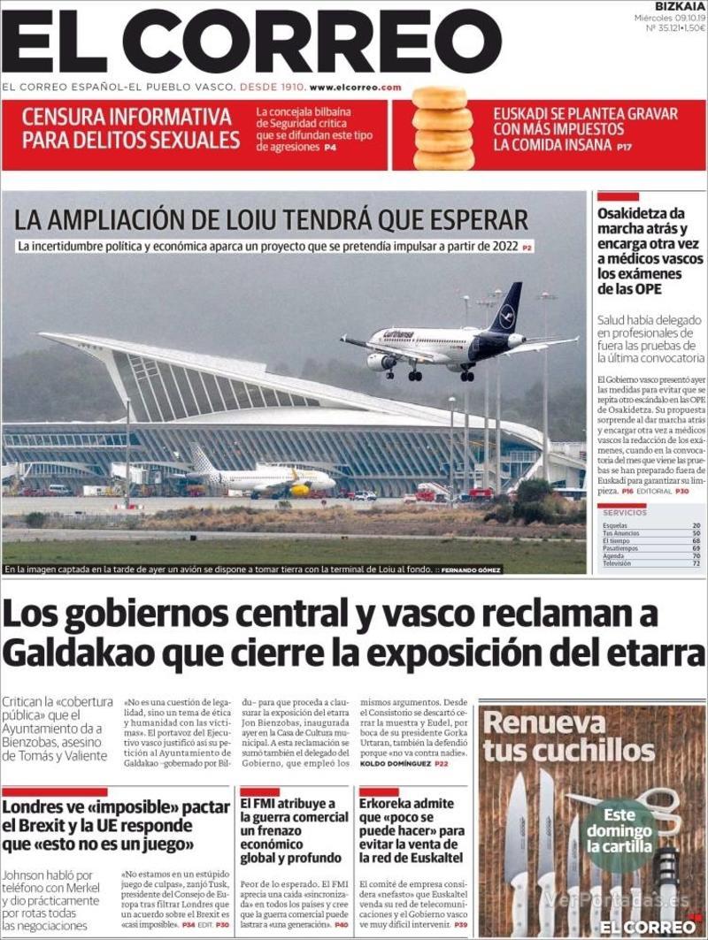 Portada El Correo 2019-10-10