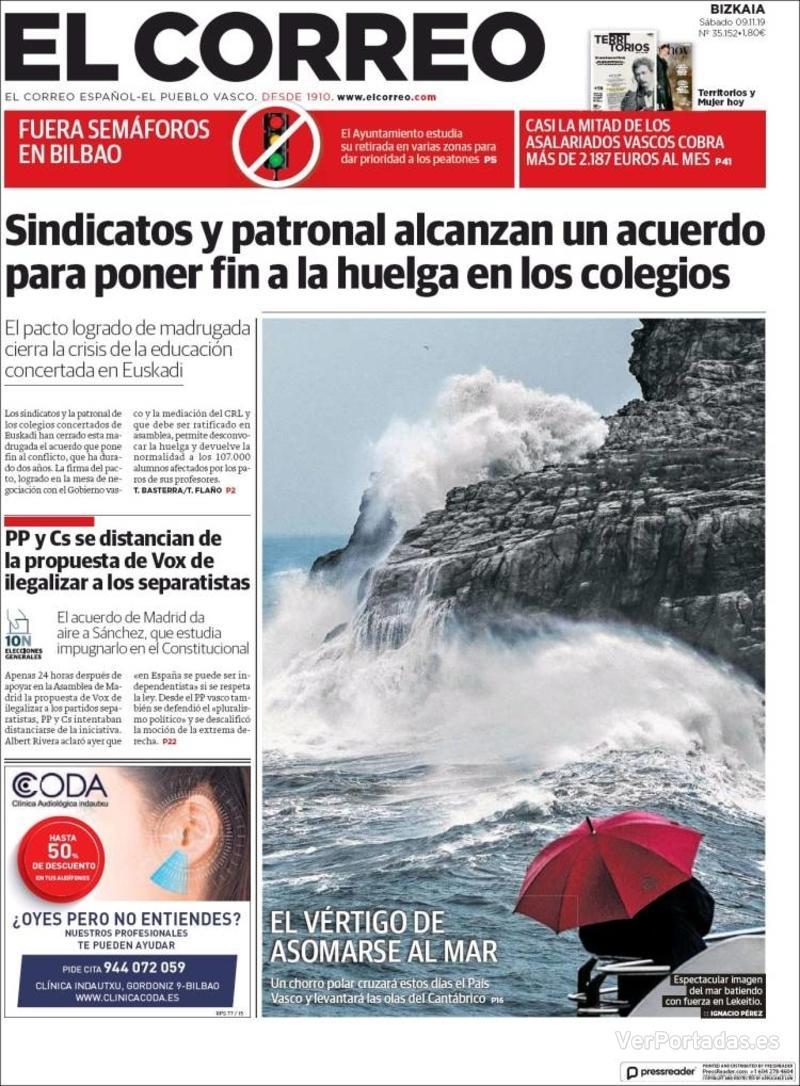 Portada El Correo 2019-11-10