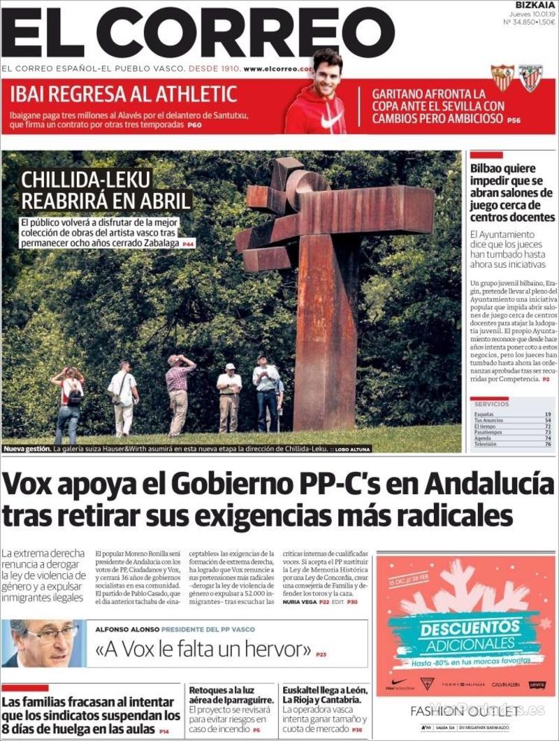 Portada El Correo 2019-01-11