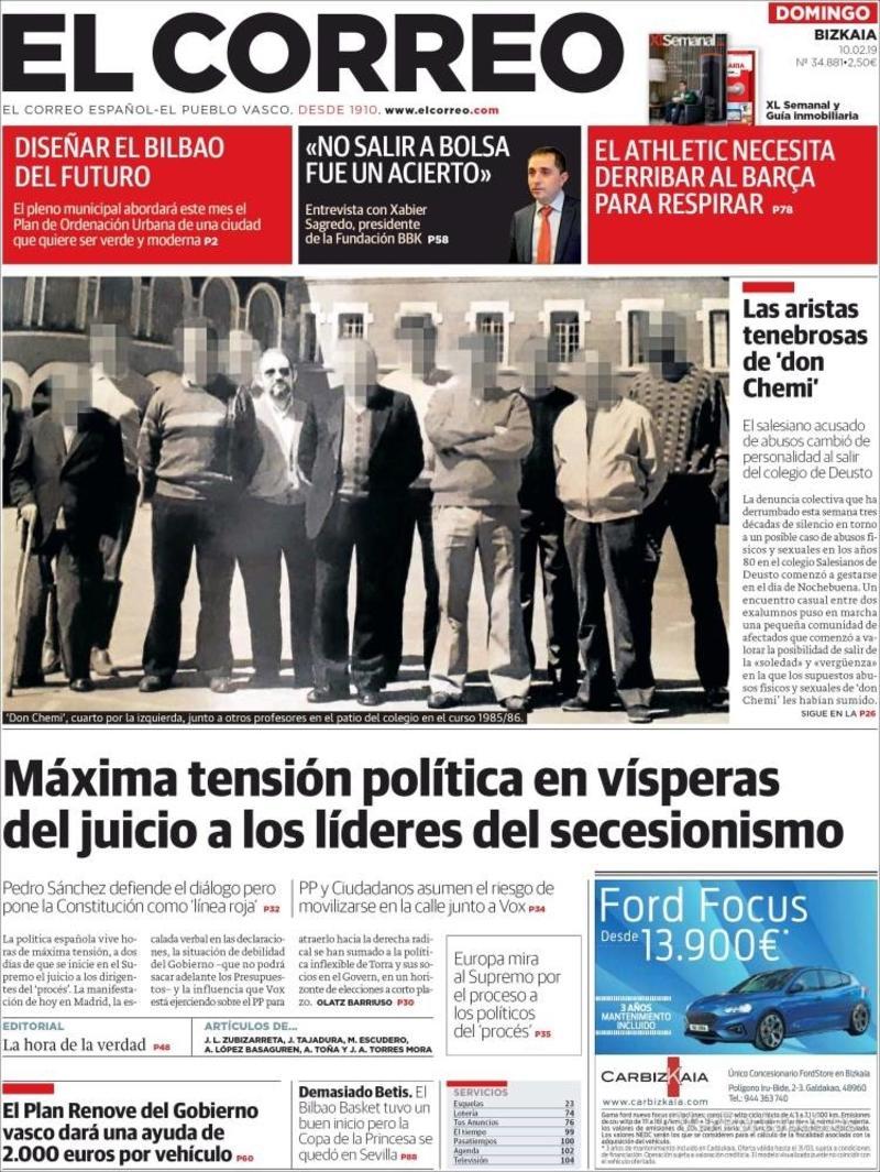 Portada El Correo 2019-02-10