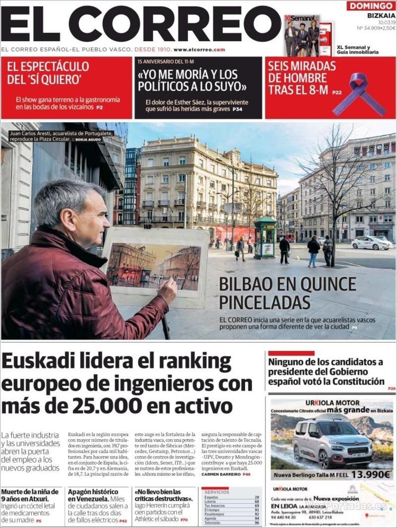 Portada El Correo 2019-03-11