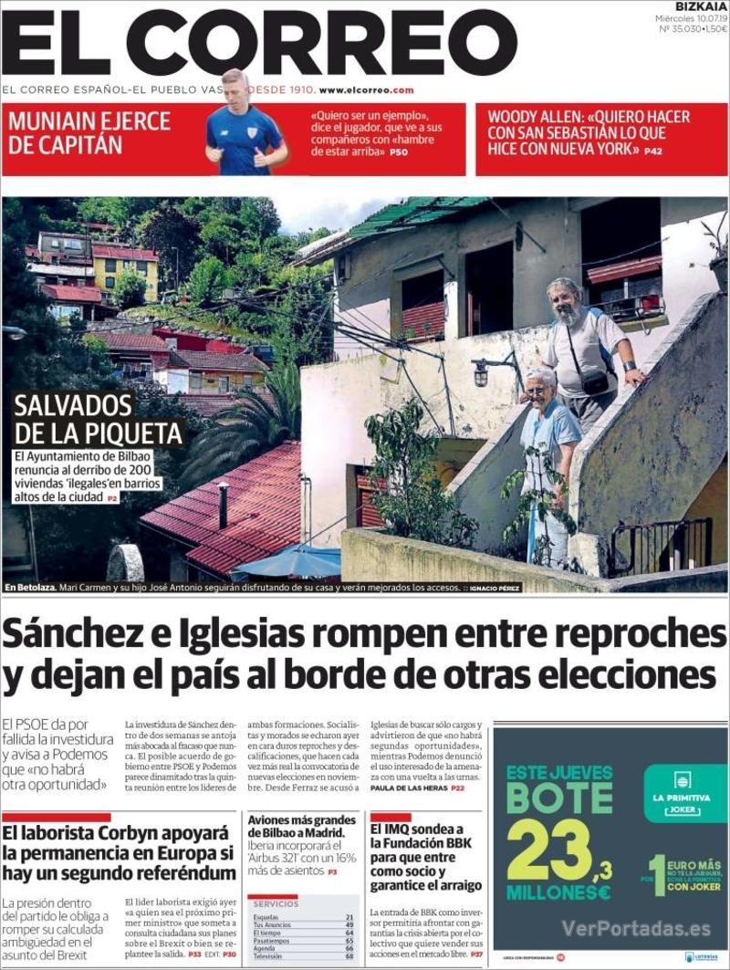 Portada El Correo 2019-07-11