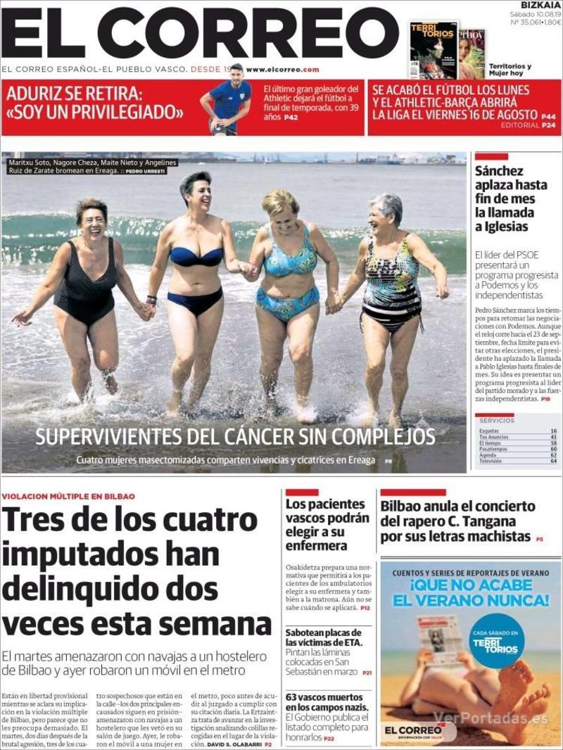 Portada El Correo 2019-08-11