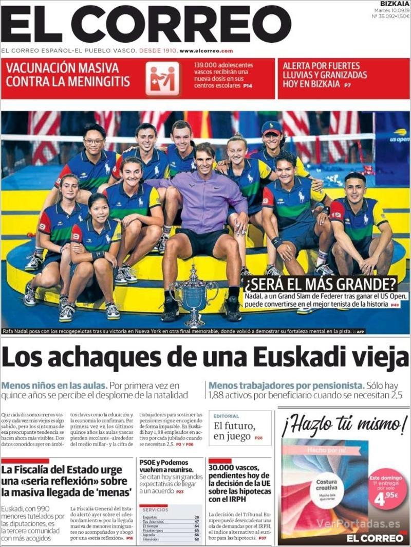 Portada El Correo 2019-09-11