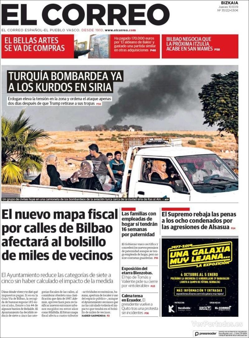 Portada El Correo 2019-10-11