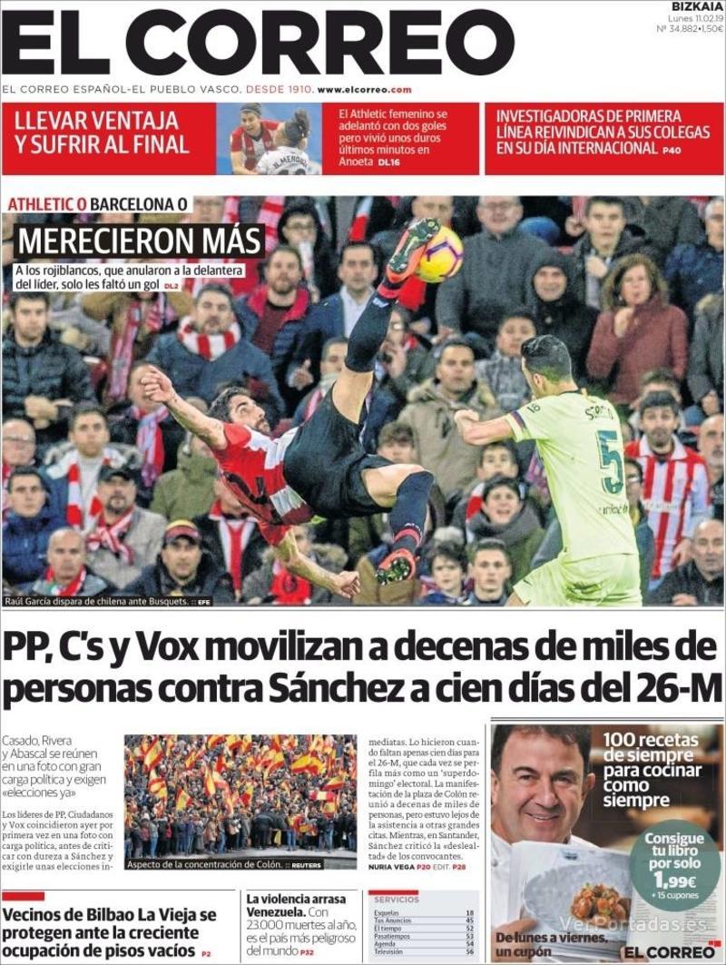 Portada El Correo 2019-02-12