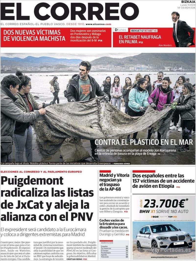 Portada El Correo 2019-03-12