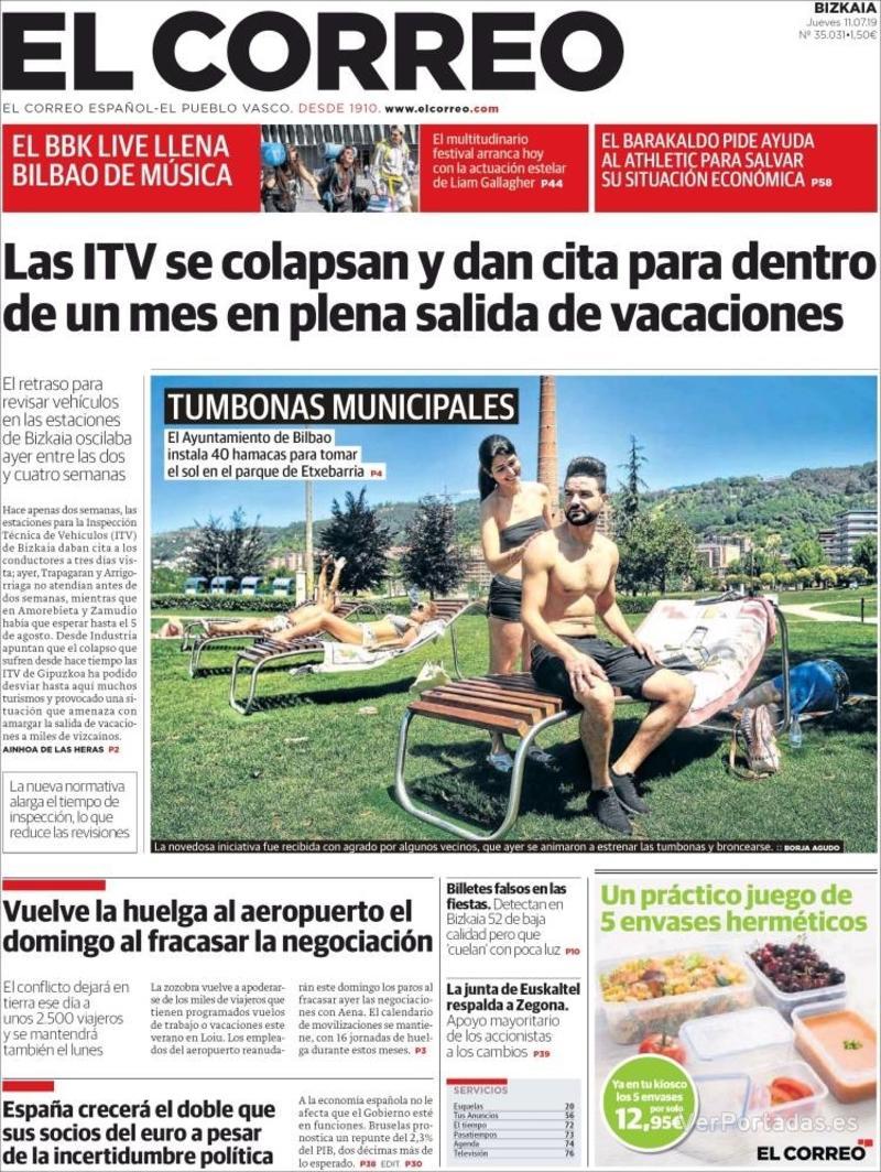 Portada El Correo 2019-07-12