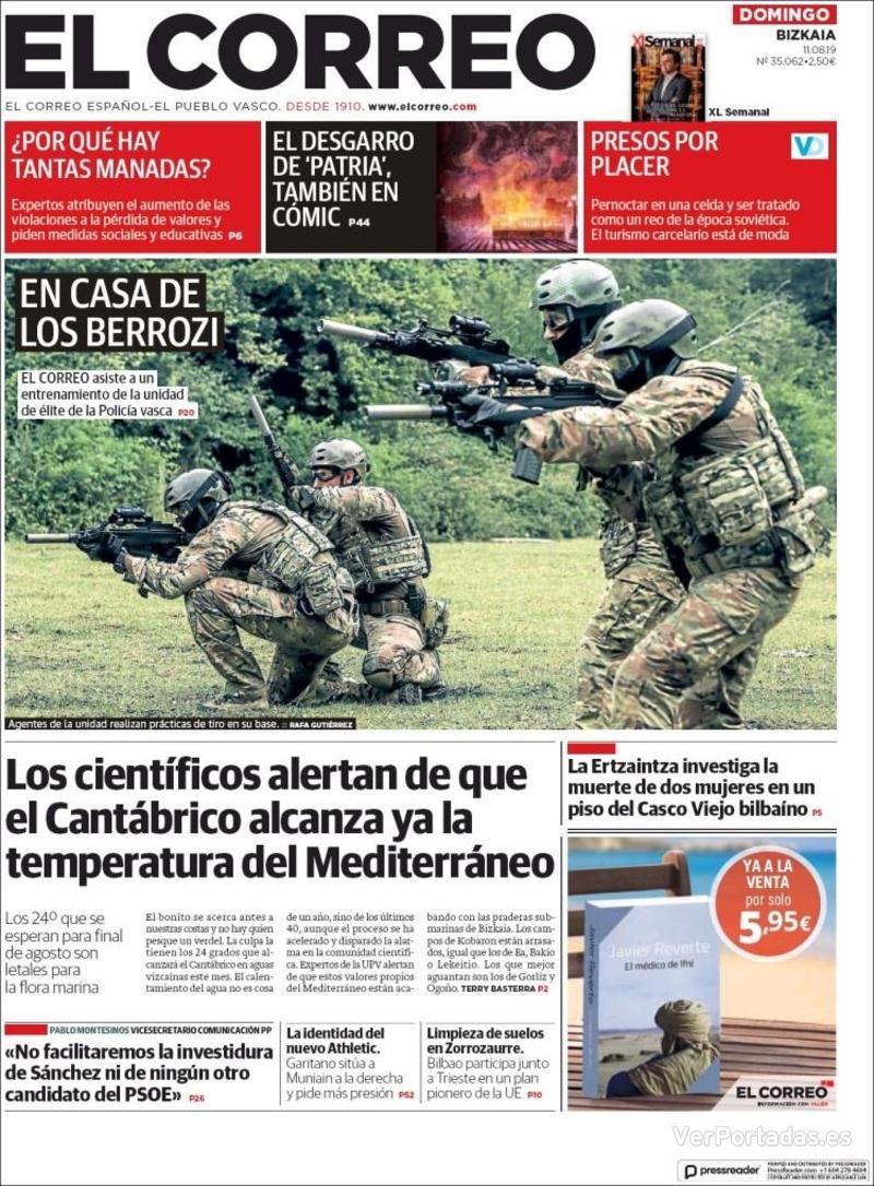 Portada El Correo 2019-08-12