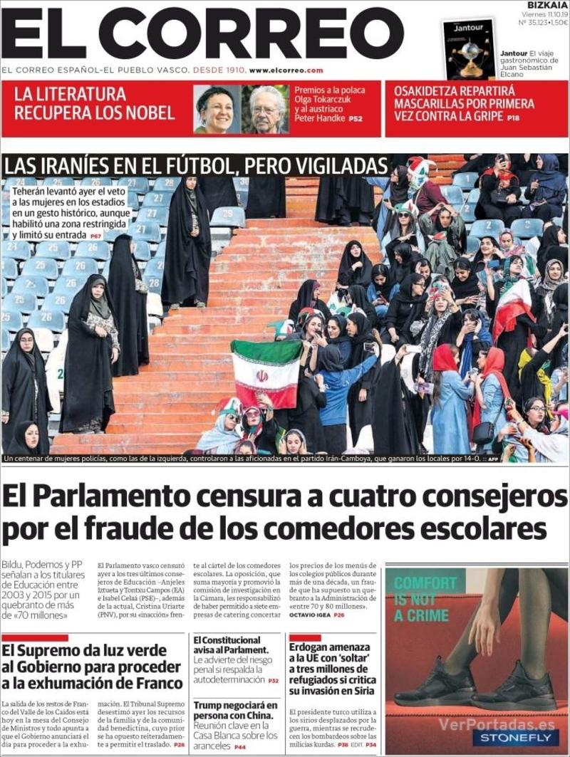 Portada El Correo 2019-10-12