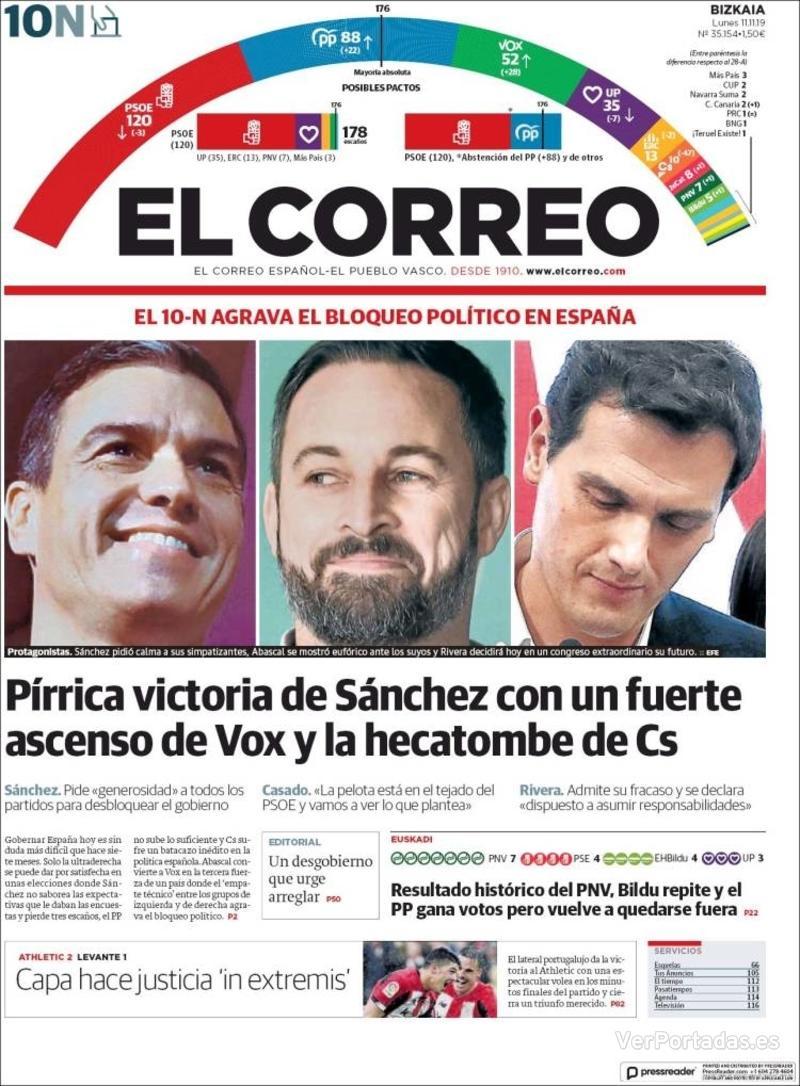 Portada El Correo 2019-11-12