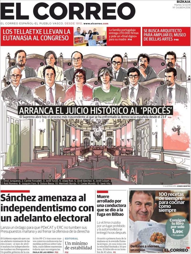Portada El Correo 2019-02-13