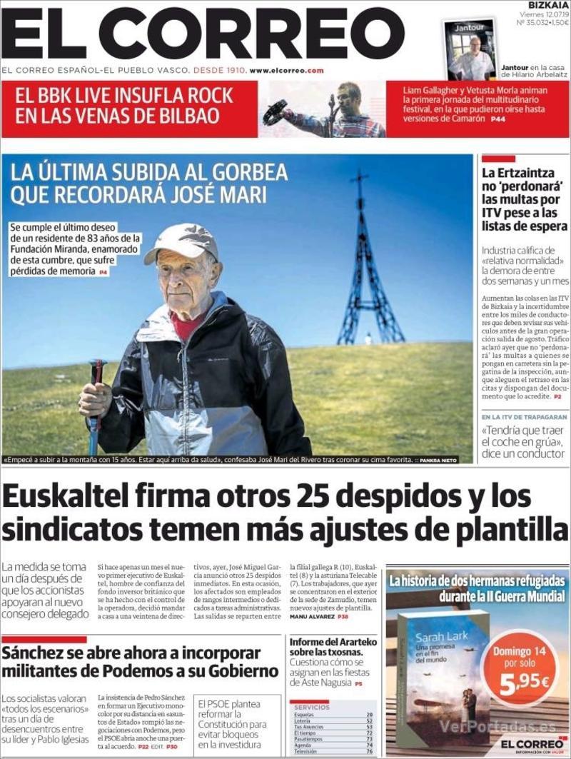 Portada El Correo 2019-07-13