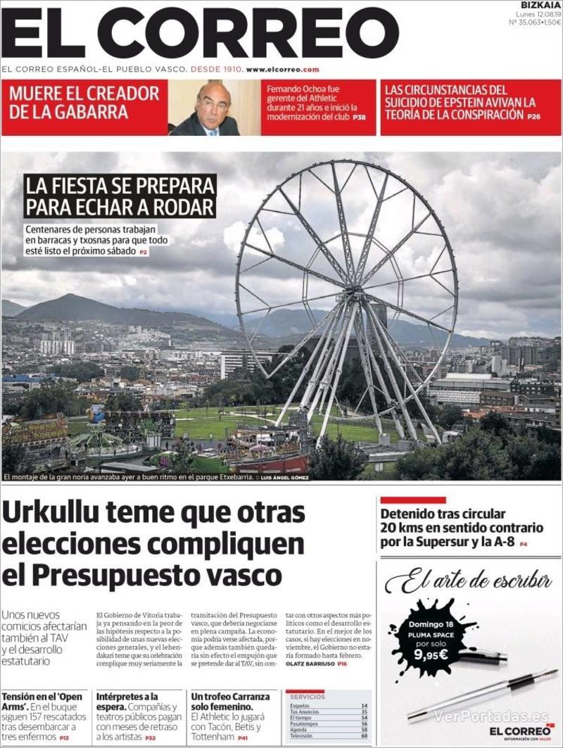 Portada El Correo 2019-08-13