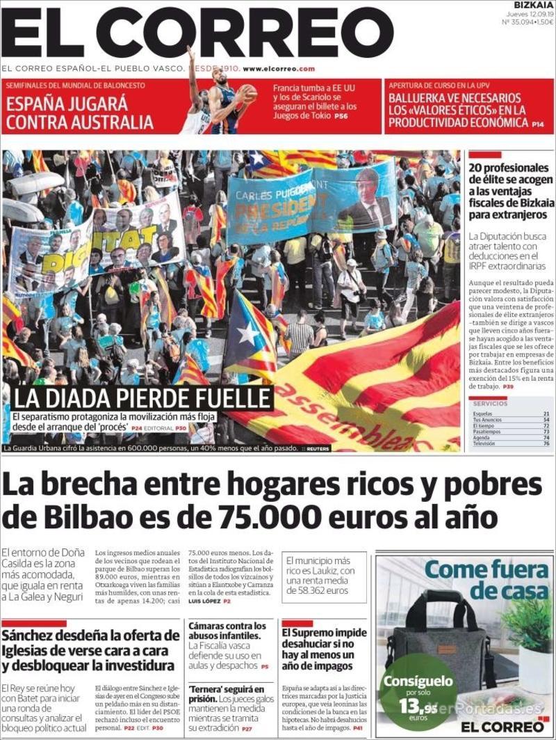 Portada El Correo 2019-09-13