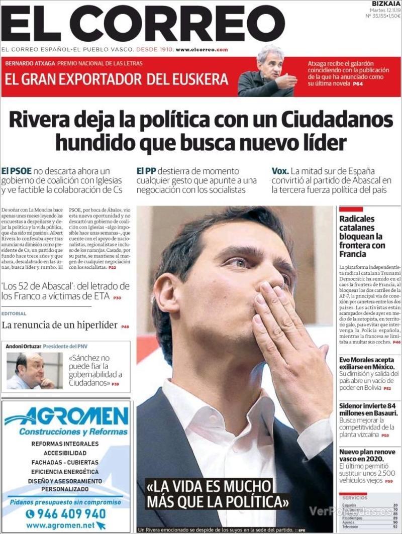 Portada El Correo 2019-11-13