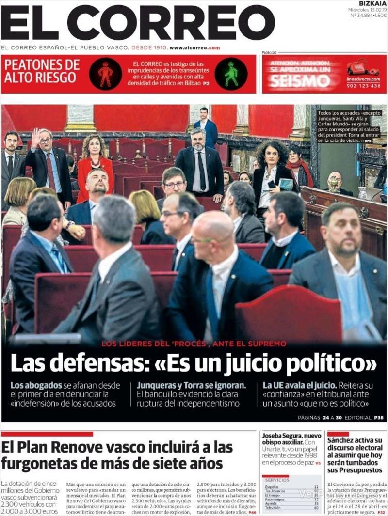 Portada El Correo 2019-02-14