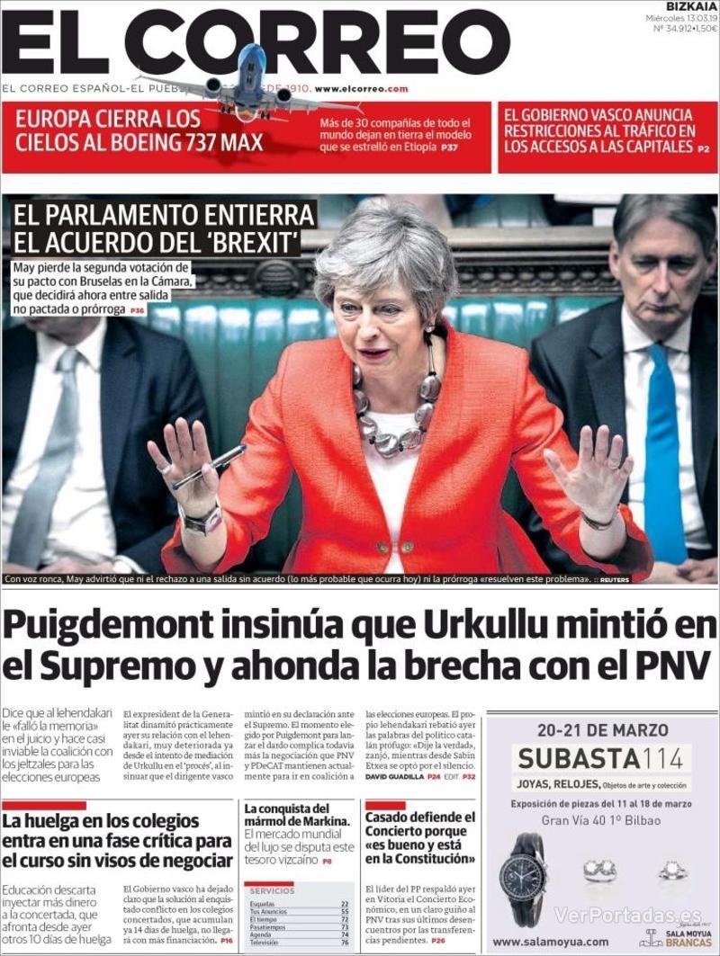 Portada El Correo 2019-03-13