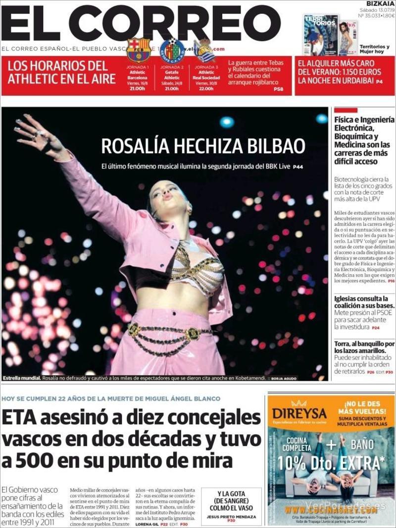 Portada El Correo 2019-07-14