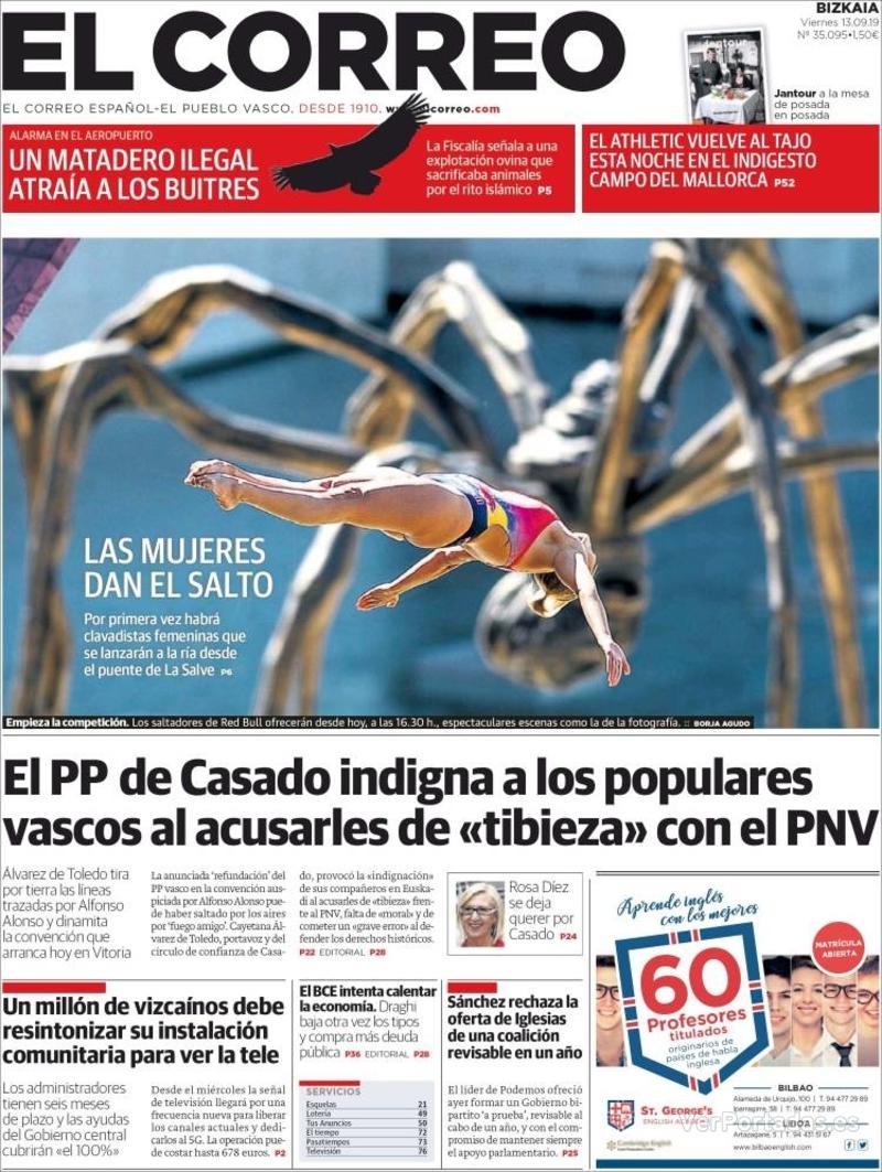 Portada El Correo 2019-09-14
