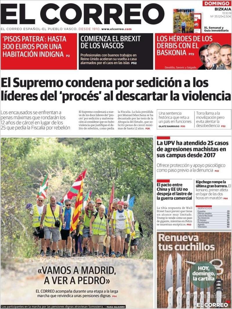 Portada El Correo 2019-10-14