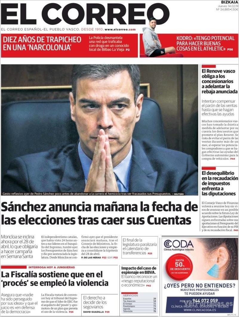 Portada El Correo 2019-02-15