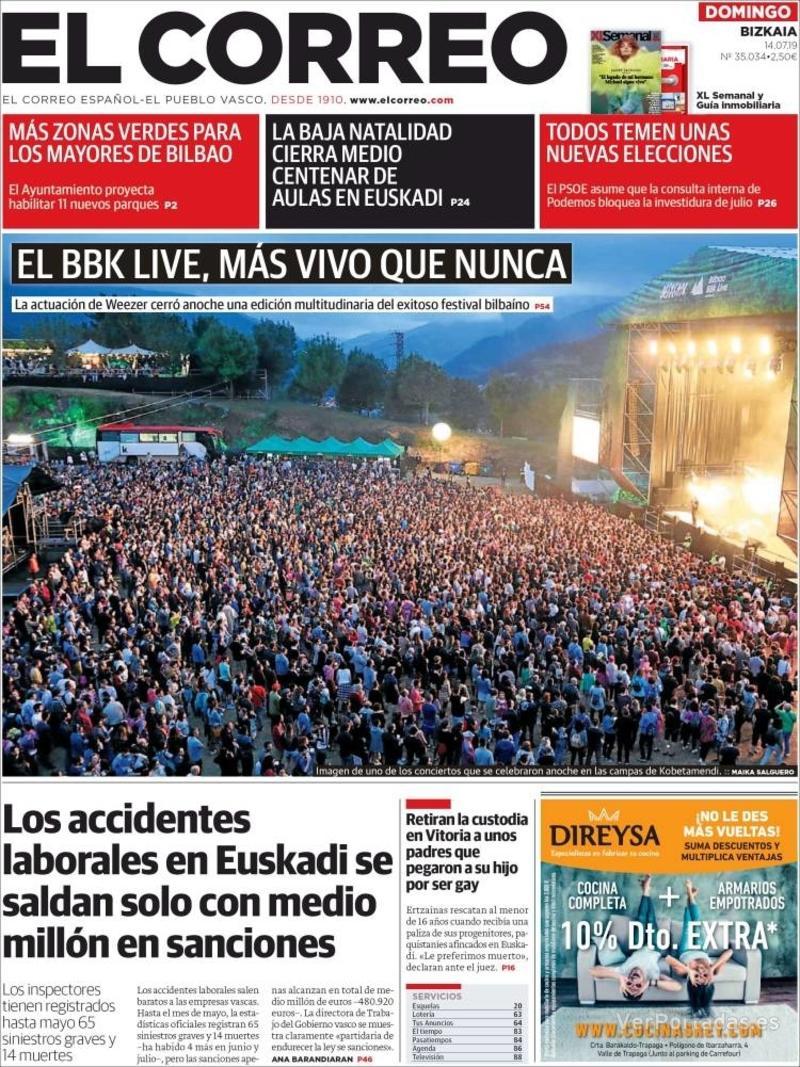 Portada El Correo 2019-07-15