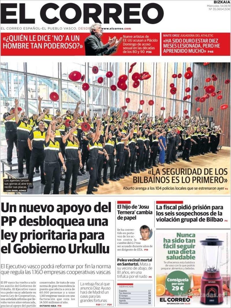 Portada El Correo 2019-08-15