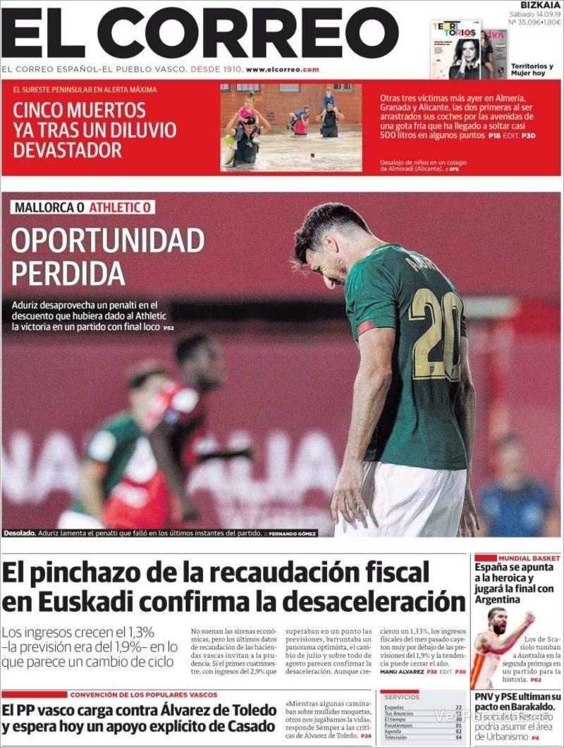 Portada El Correo 2019-09-15