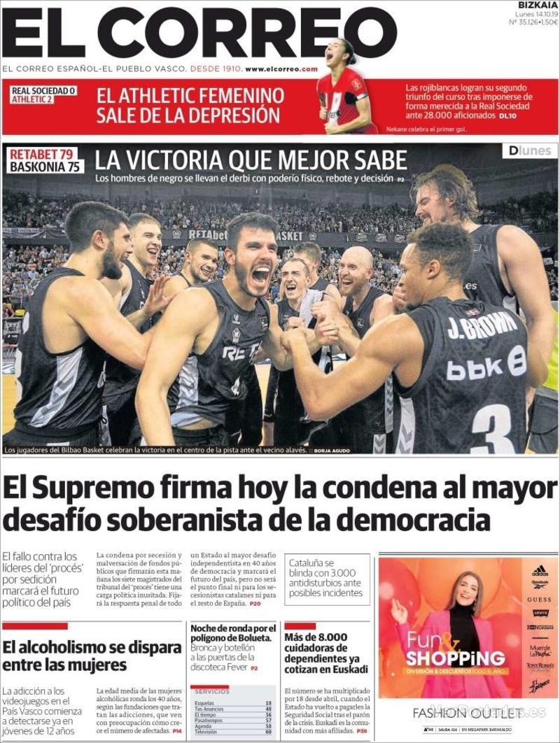 Portada El Correo 2019-10-15