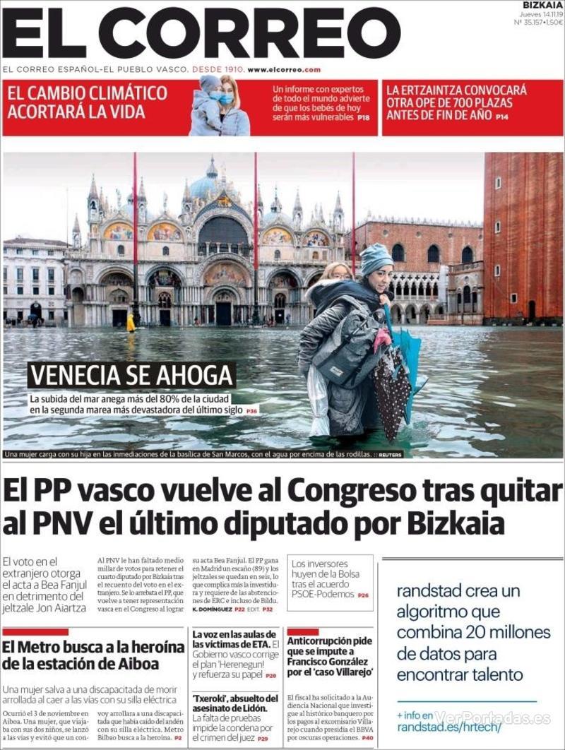 Portada El Correo 2019-11-15