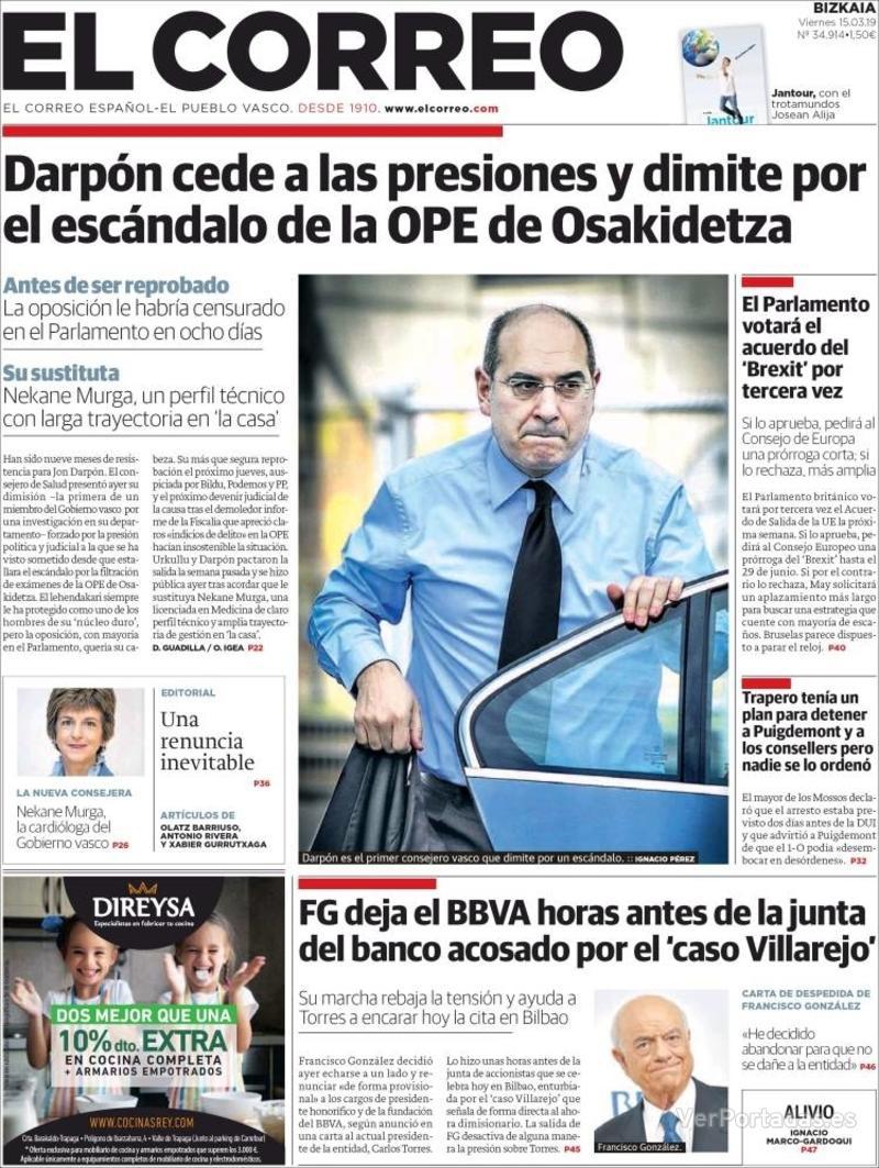 Portada El Correo 2019-03-15