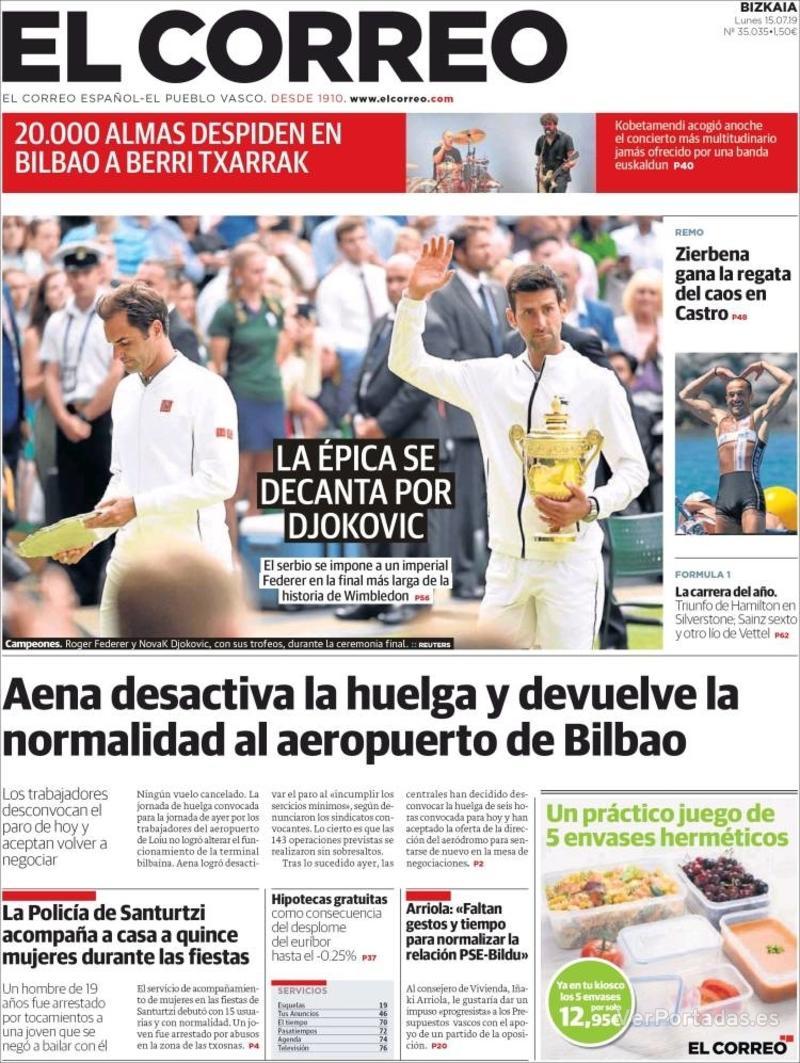 Portada El Correo 2019-07-16