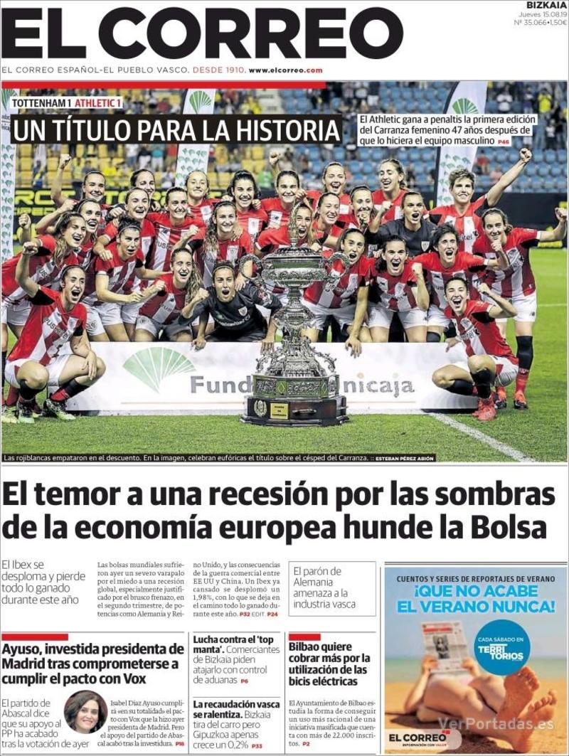 Portada El Correo 2019-08-16