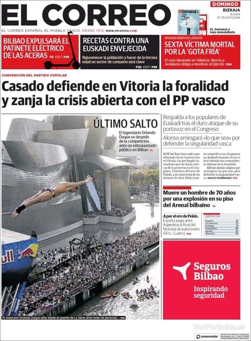 Portada El Correo 2019-09-16