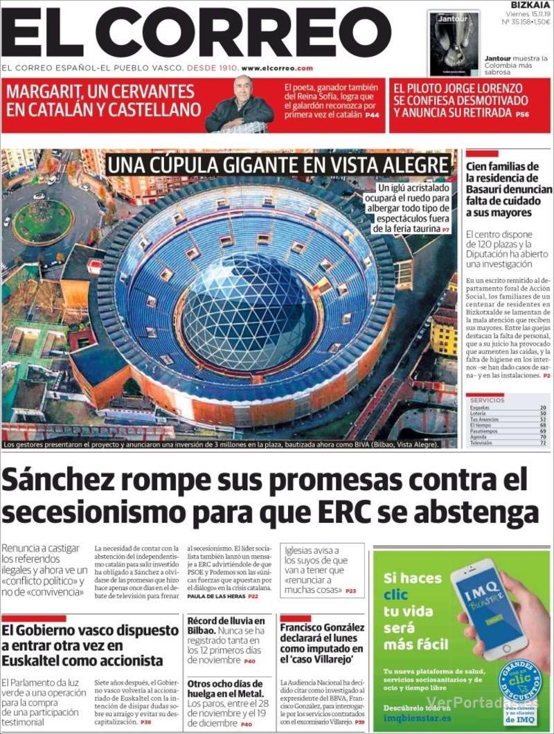Portada El Correo 2019-11-16