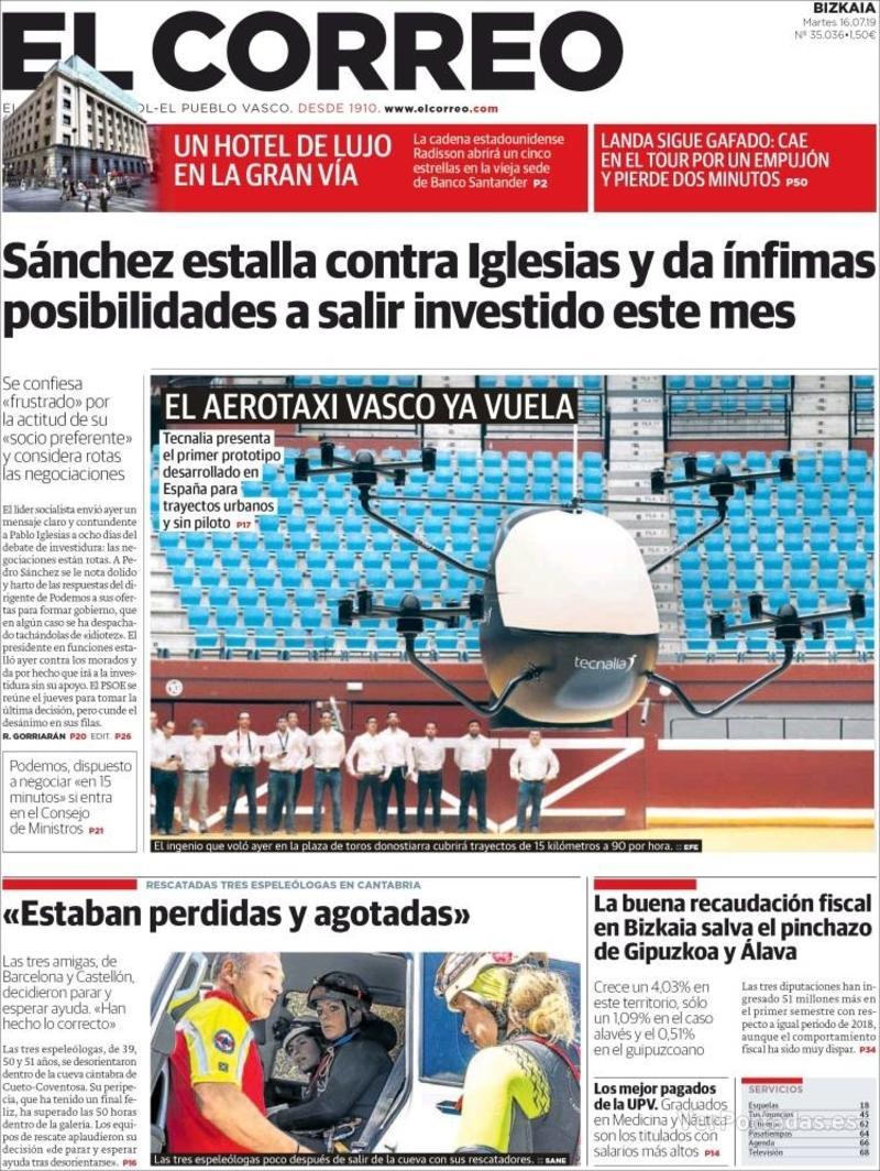 Portada El Correo 2019-07-17