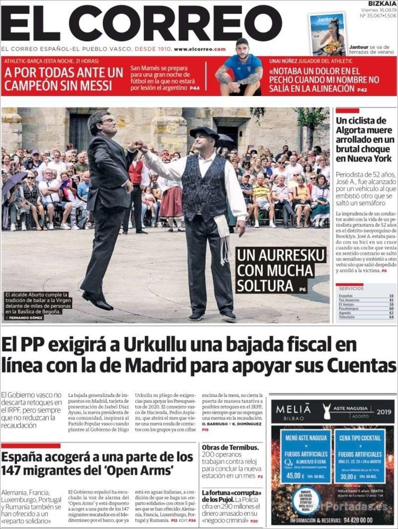 Portada El Correo 2019-08-17