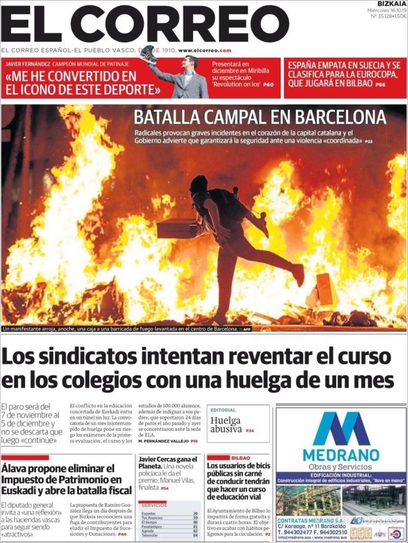 Portada El Correo 2019-10-17