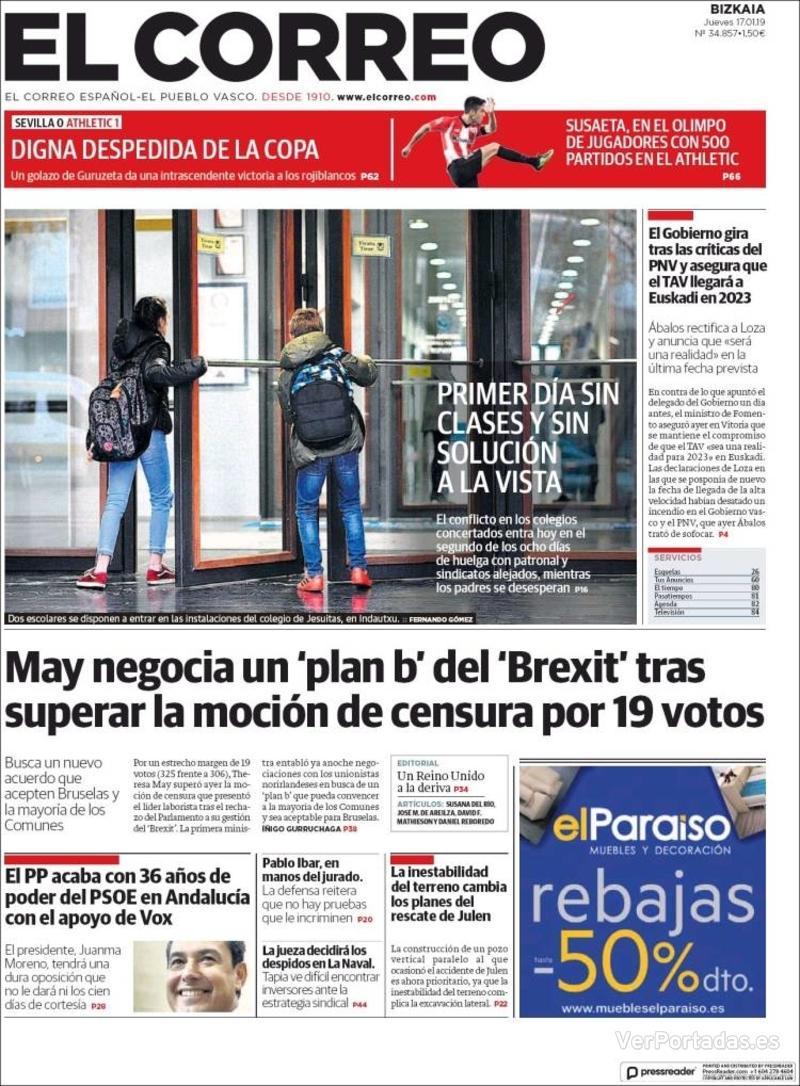 Portada El Correo 2019-01-18