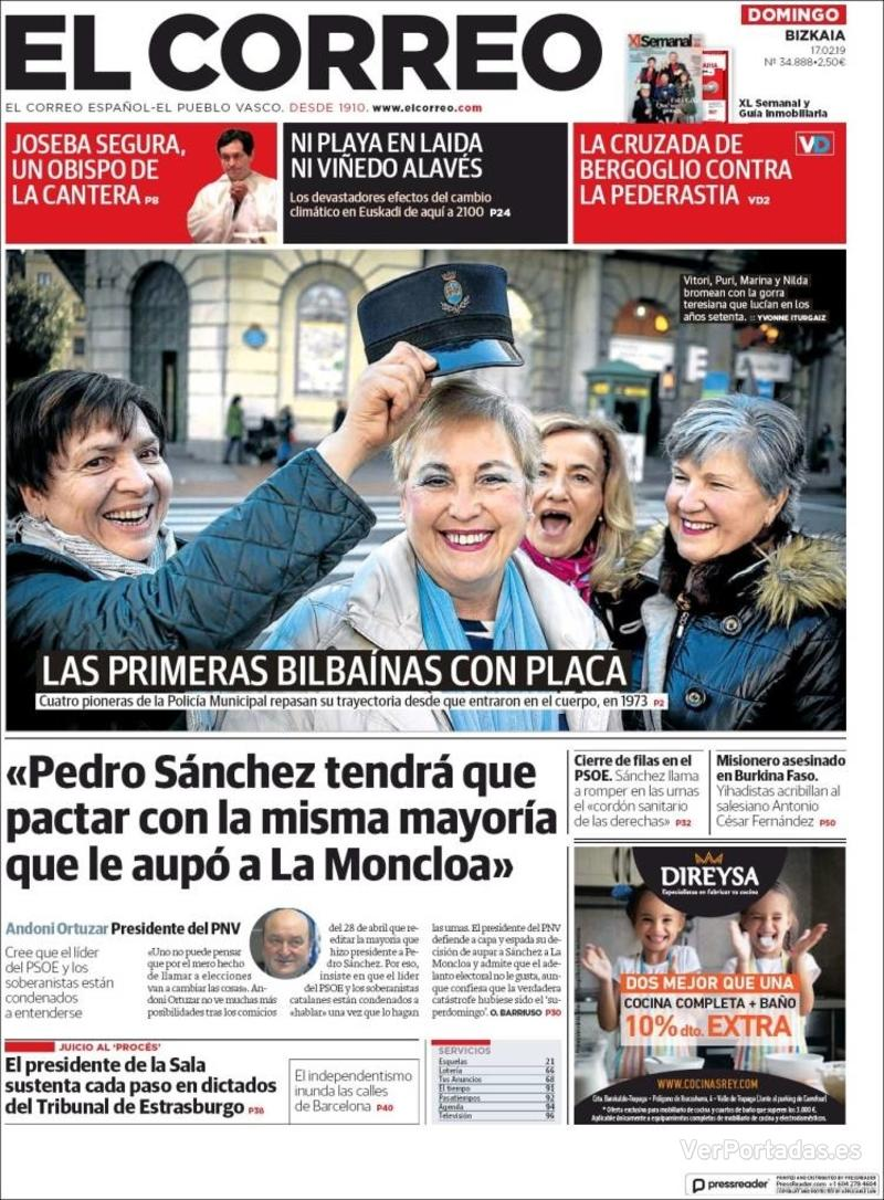 Portada El Correo 2019-02-18